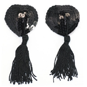 Naughty Love Heart Nipple Tassels in Black Color