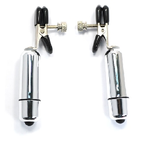 Nipple Clamps with Silver Vibrating Bullets ( Battery Included )