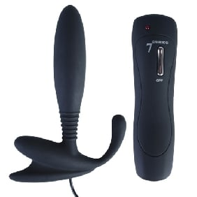 7 Speeds Silicone Anal Vibrator in Black Color