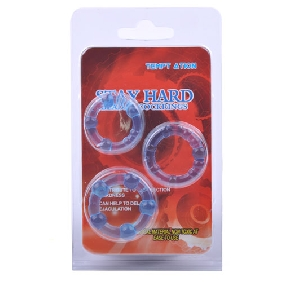 Clear Blue Triple Cockring Kit