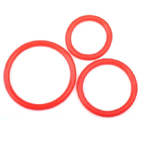 Red Color Silicone Triple Cock Ring Set