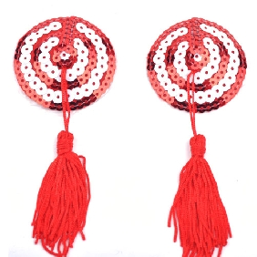 Red and White Love Heart Nipple Tassels