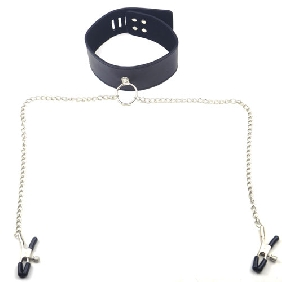 Black Collar with Nipple Clamps