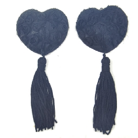 Black Lace Rose Nipple Tassels