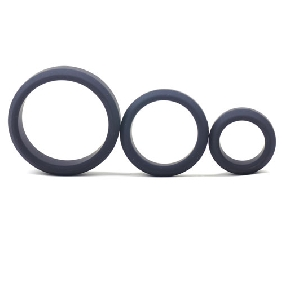 Enhanced Black Color Silicone Triple Cock Ring Set