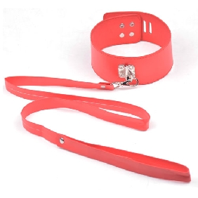 Basic Red Color Bondage Collar with Lead