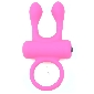 Pink Color Silicone Bit Ears Vibrating Rabbit Cock Ring
